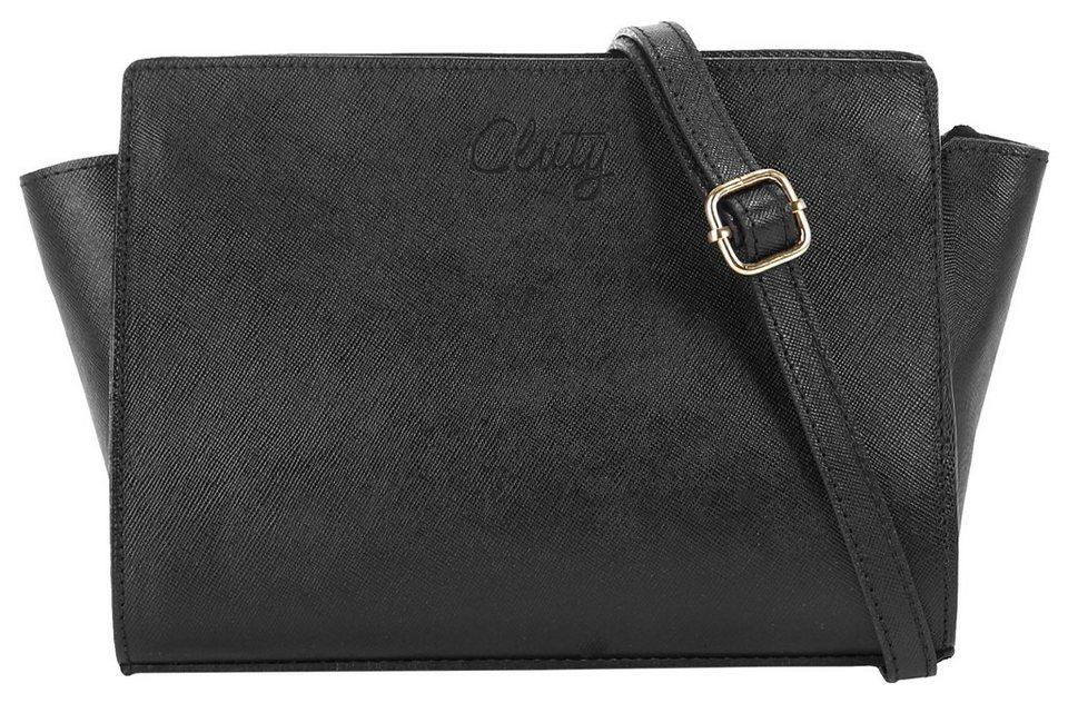 Cluty Leder Damen Umhängetasche »Melise« in schwarz