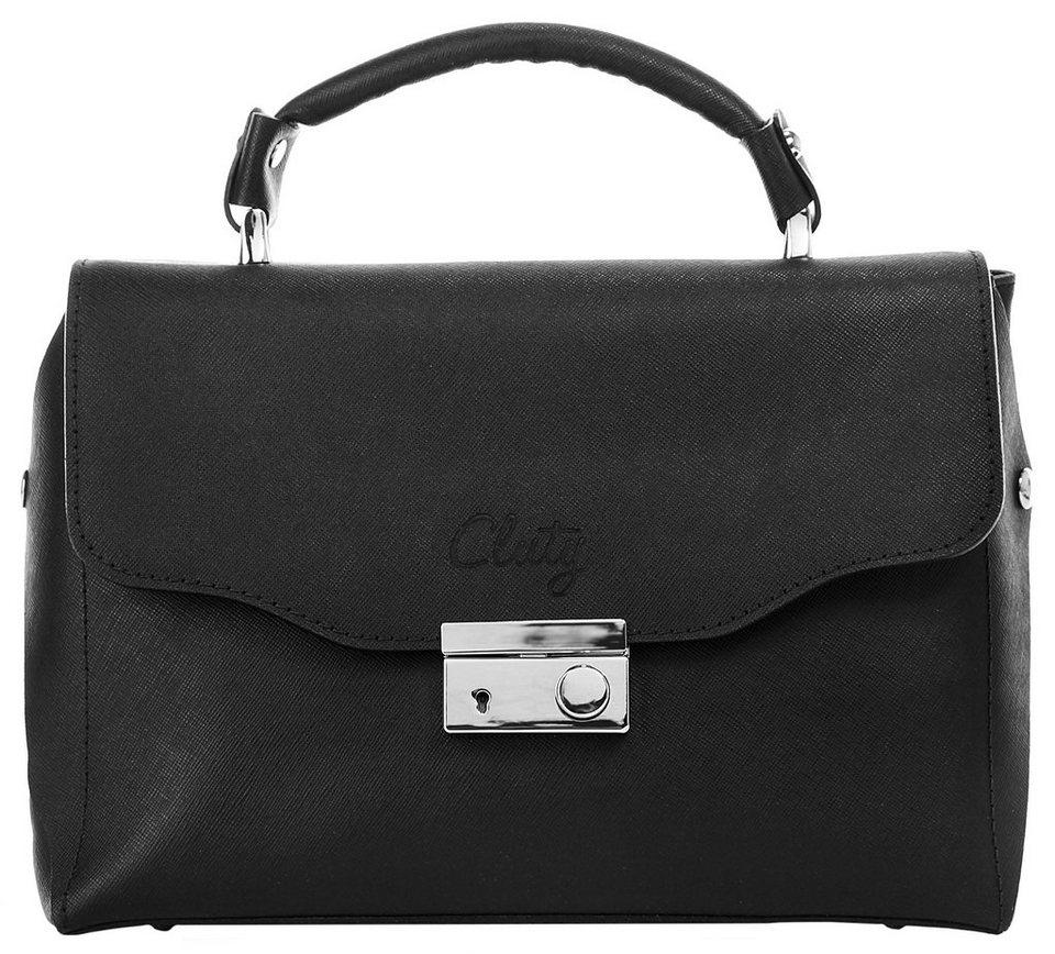 Cluty Leder Damen Handtasche »Chamblet« in schwarz