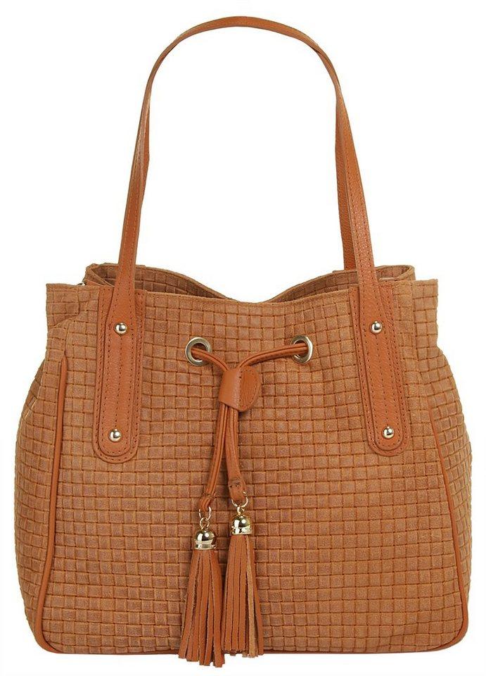 Samantha Look Leder Damen Handtasche »Alysa« in cognac
