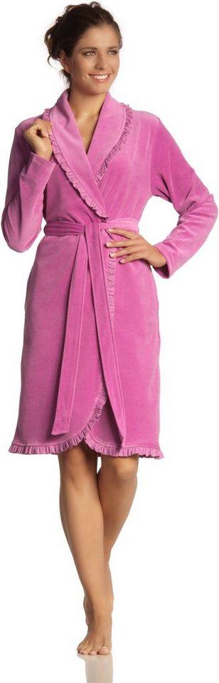 Damenbademantel, Vossen, »Ariel«, mit Rüschen-Kragen in pink