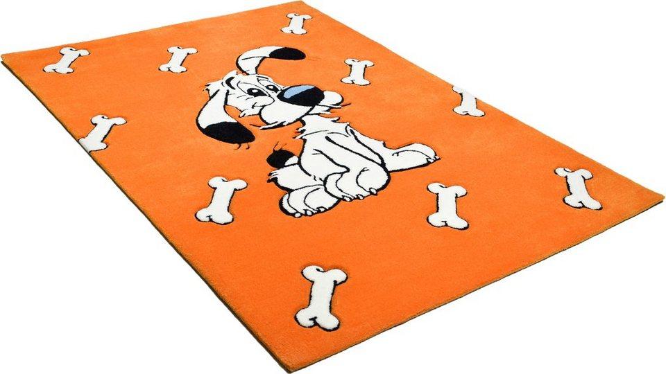 Kinder-Teppich, Asterix, »Der schlaue Idefix«, handgearbeitet in orange