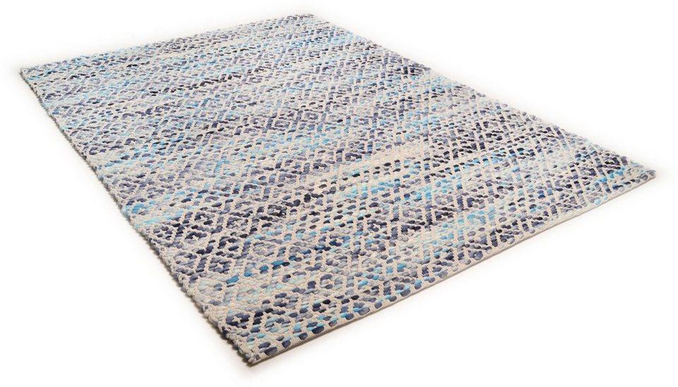 Teppich, Tom Tailor, »Diamond«, handgearbeitet, Wolle in blau