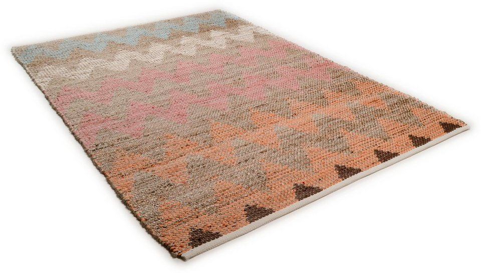 Teppich, Tom Tailor, »Pastel Zigzag«, handgearbeitet, Wolle in multicolor