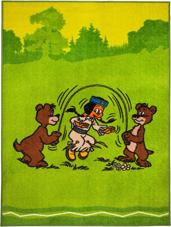 Kinder-Teppich, Yakari, »Regenbogen und Bären«, Yakari in grün