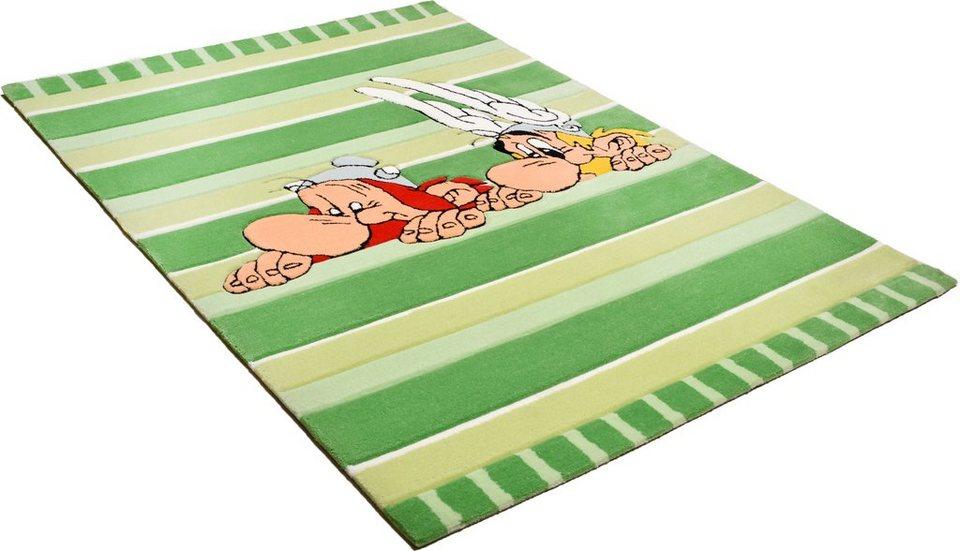 Kinder-Teppich, Asterix, »Gallien in Gefahr«, handgearbeitet in grün