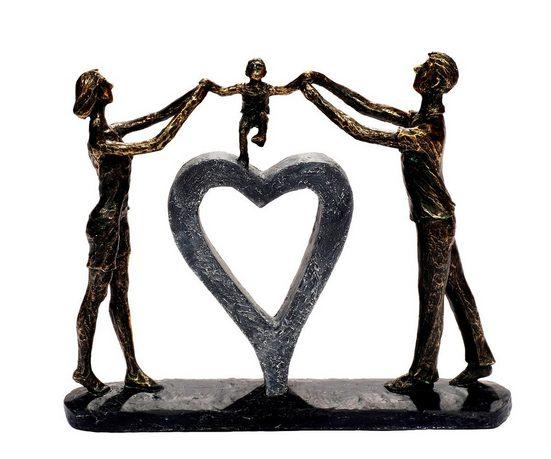 Brillibrum Dekofigur »Design Skulptur Familie Polyresin Figur Paar große Dekofigur Herz abstrakte Kunstfigur Familienglück Kindheit Bronze Dekofigur der Familie & Liebe«