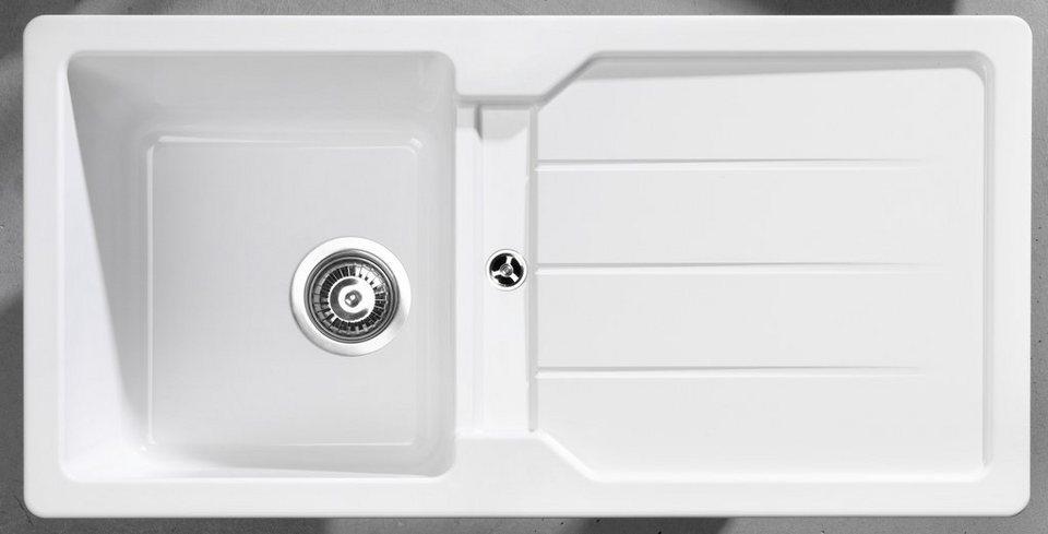 Kunststoffspüle »Domostonespüle Basic, 86x43,5 cm« in weiß