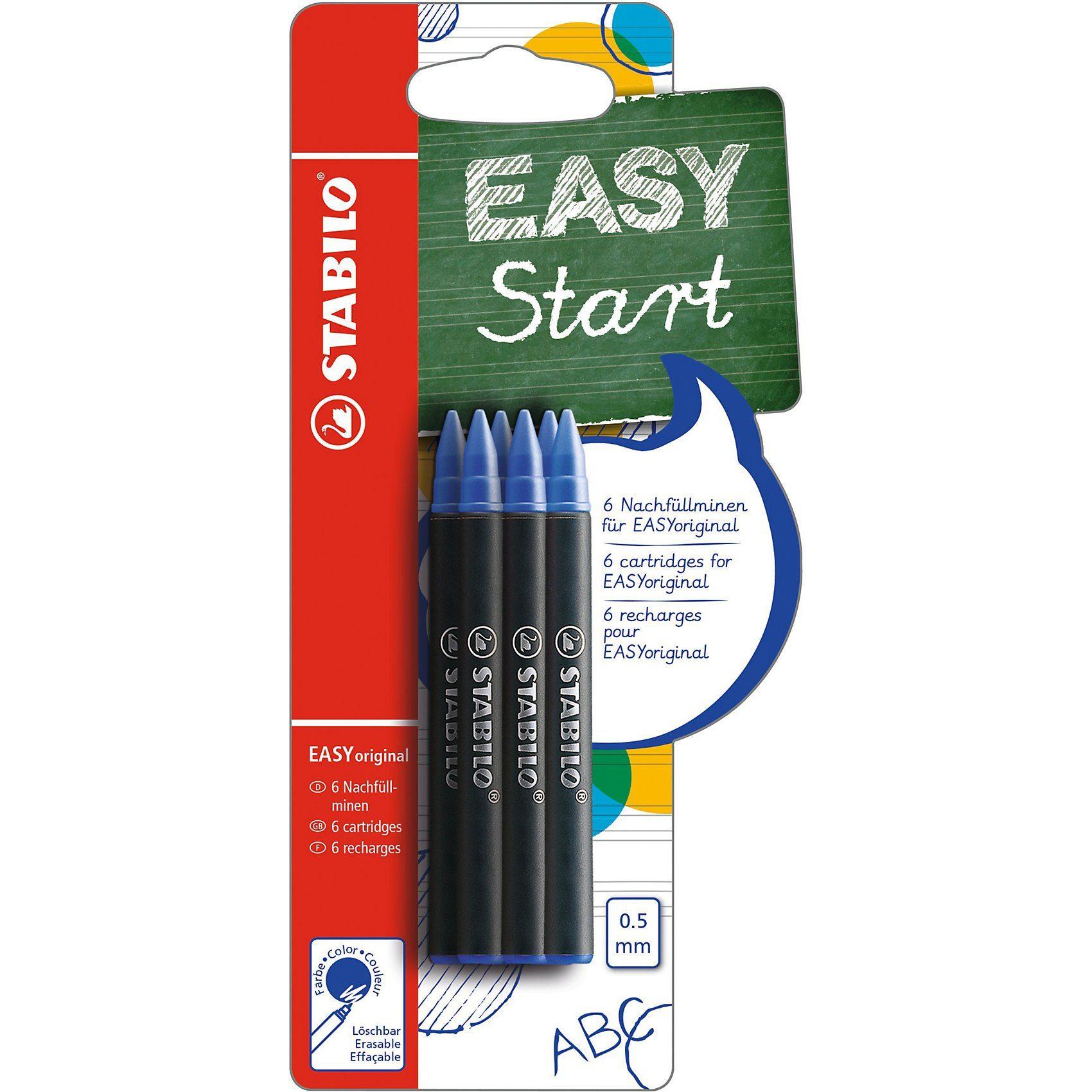 STABILO Tintenroller EASYoriginal Patronen medium blau, 6 Stück