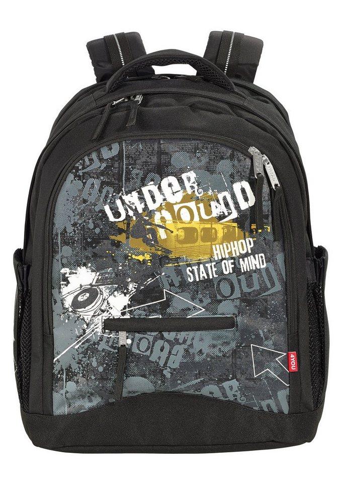 4YOU Schulrucksack, »Rucksack Compact - Under Ground« in schwarz