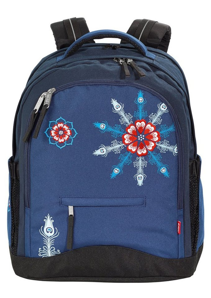 4YOU Schulrucksack, »Rucksack Compact - Peacock Vintage« in blau