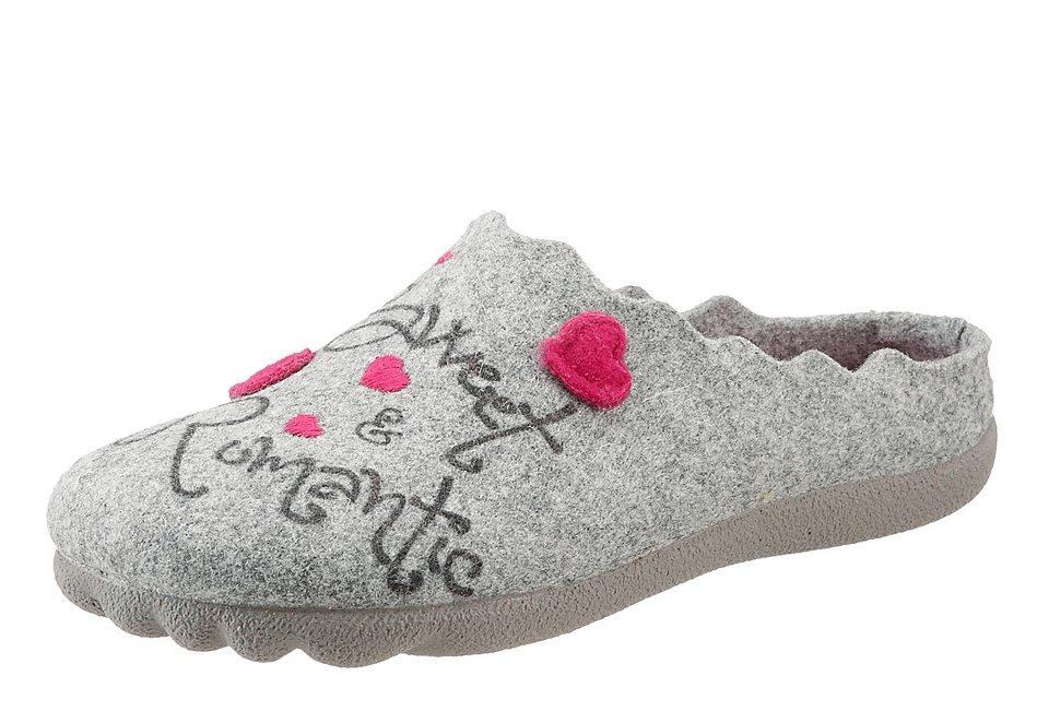 Hush Puppies Pantoffel mit Herzchen in grau-pink