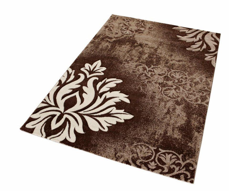 Teppich, Merinos, »DORDOGNE«, handgearbeiteter Konturenschnitt, gewebt in braun
