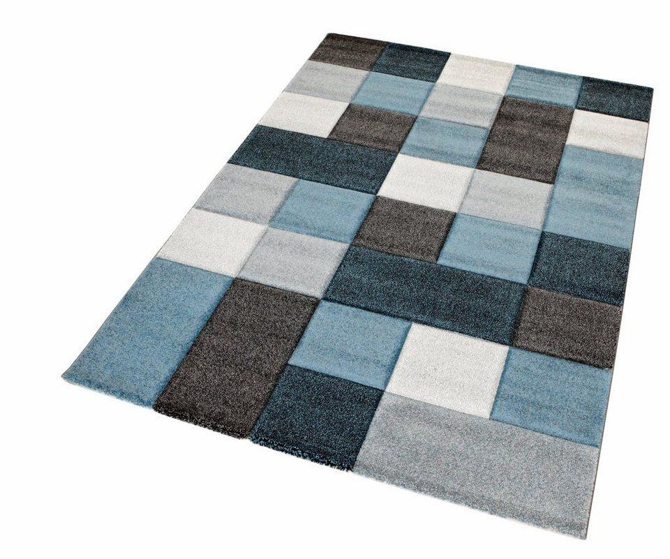 Teppich, Merinos, »DRONNE«,handgearbeiteter Konturenschnitt, gewebt in blau