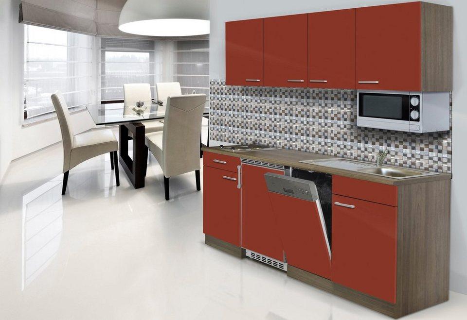 Küchenzeile »York« mit E-Geräten, Breite 195 cm in rot/eichefarben