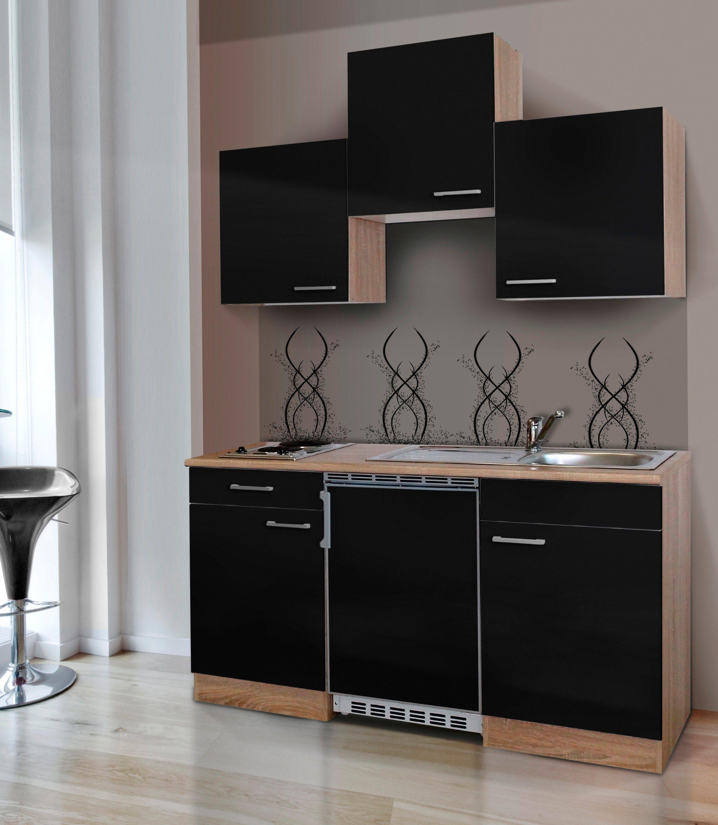 Respekta Miniküche mit E-Geräten, Breite 150 cm   Küche und Esszimmer > Küchen > Miniküchen   Weiß - Schwarz - Rot - Grau - Matt   Holzwerkstoff - Eiche - Kunststoff   RESPEKTA