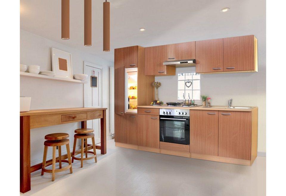 Küchenzeile mit Glaskeramik-Kochfeld »Basic«, Breite 270 cm in buchefarben
