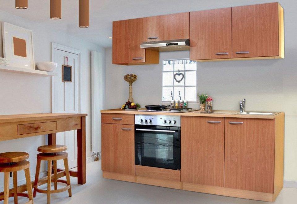 Küchenzeile mit Edelstahl-Kochmulde »Basic«, Breite 210 cm in buchefarben