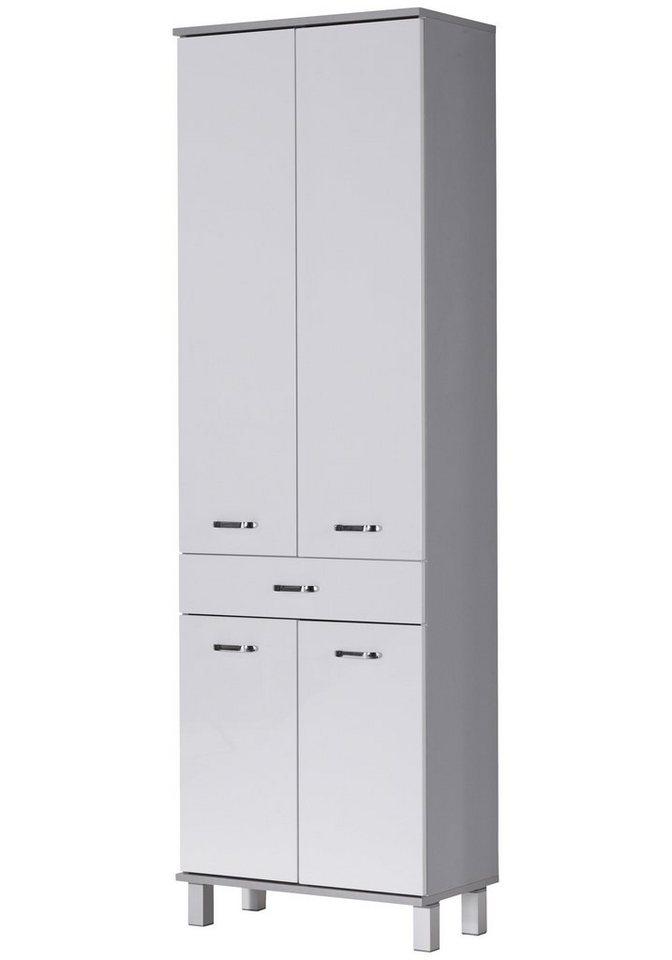 Schildmeyer Hochschrank »Dallas«, Breite 60 cm in weiß/silberfarben