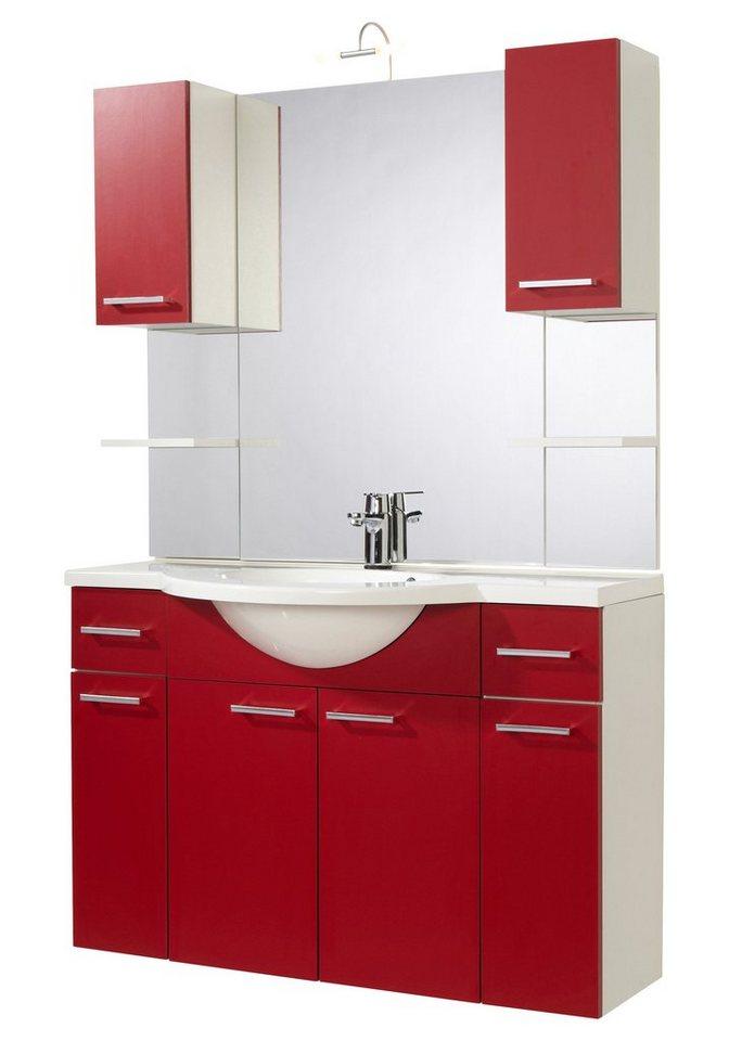 Badmöbel-Set »Barcelona«, Breite 110 cm in rot/weiß