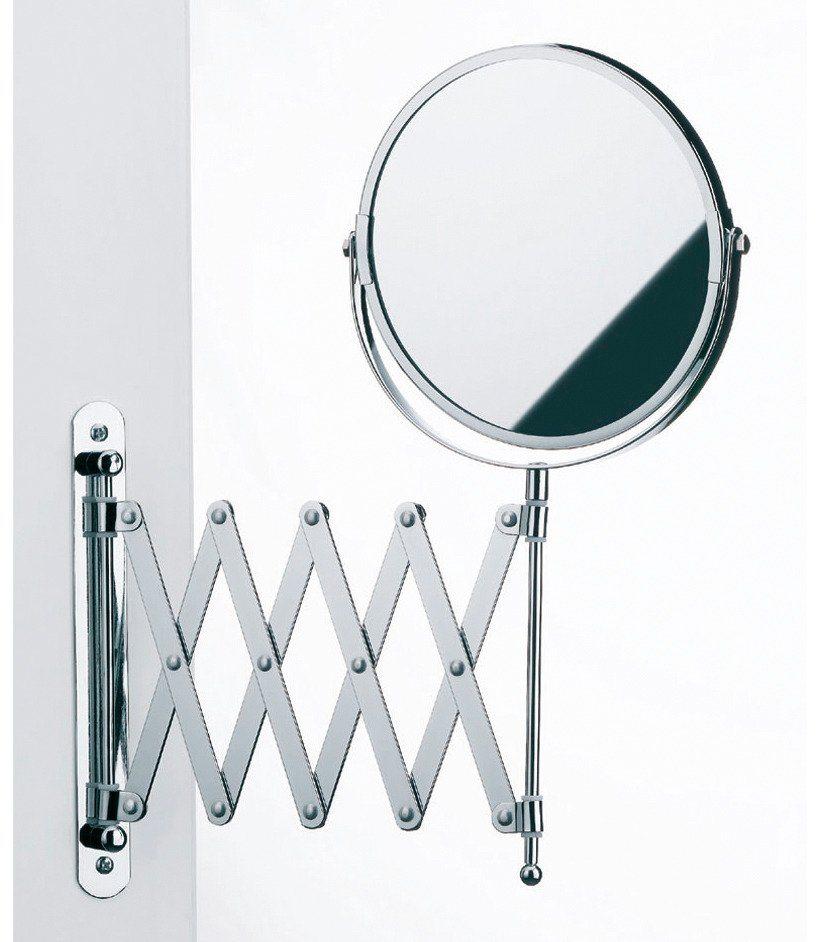 Spiegel / Kosmetikspiegel »3-fache Vergrößerung« Durchmesser 18 cm in silber