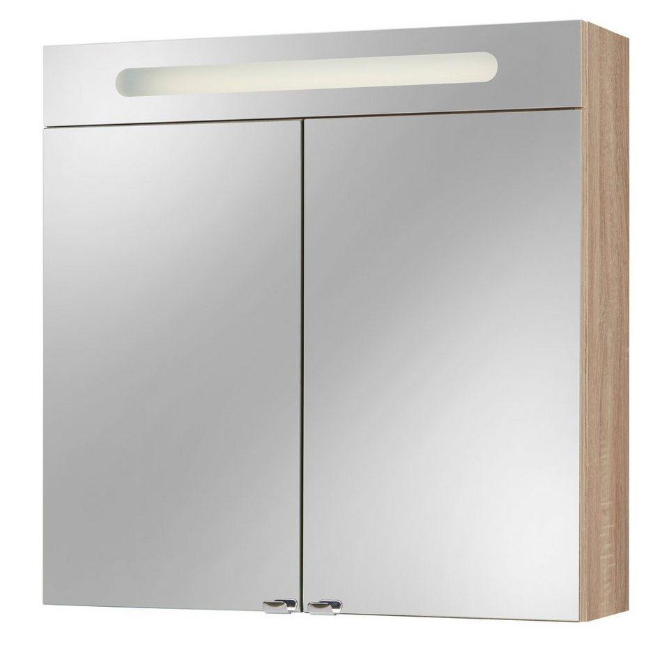 Spiegelschrank »Lucca« Breite 68 cm, mit Beleuchtung in eichefarben trüffel