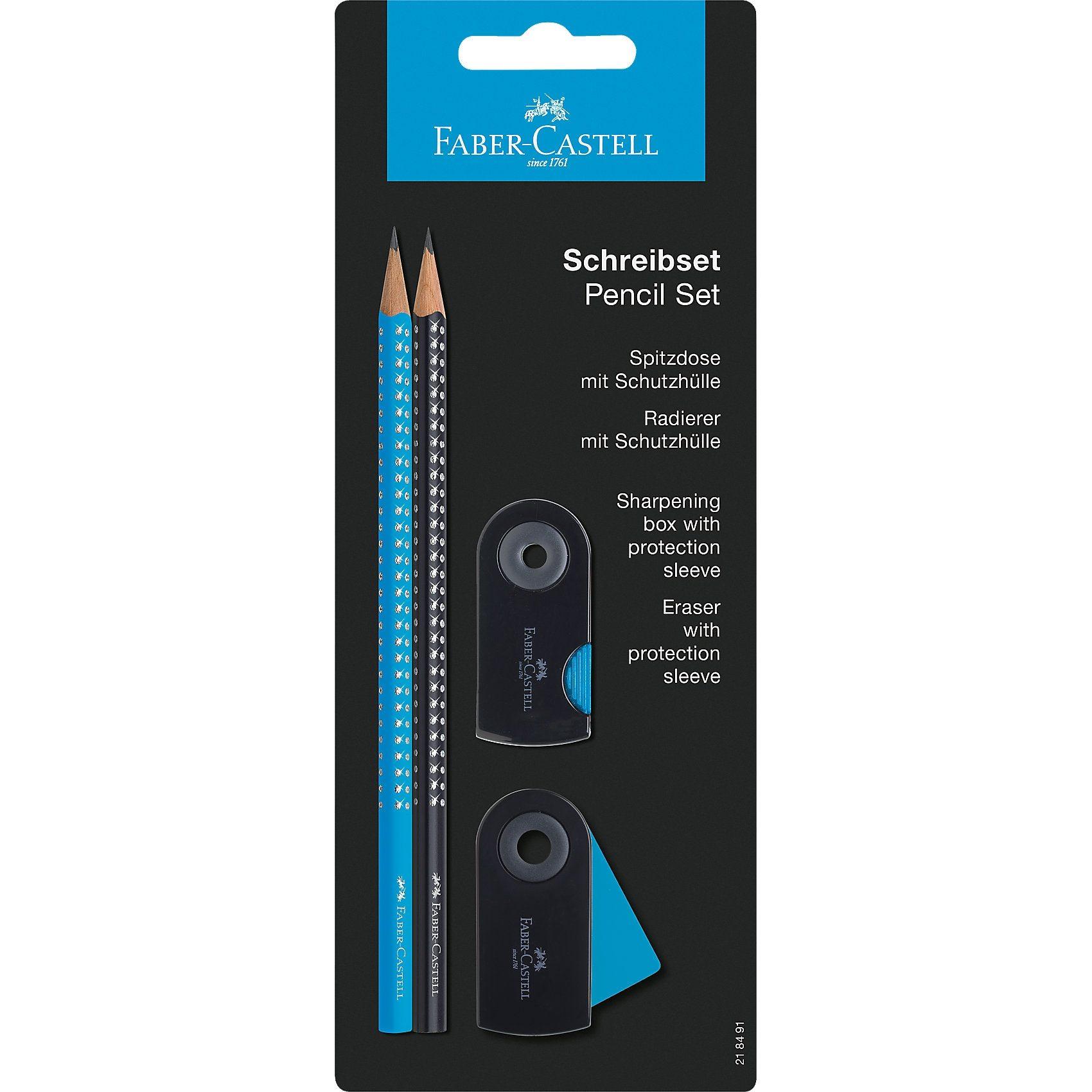 Faber-Castell GRIP SPARKLE Bleistiftset blau, 4-tlg.