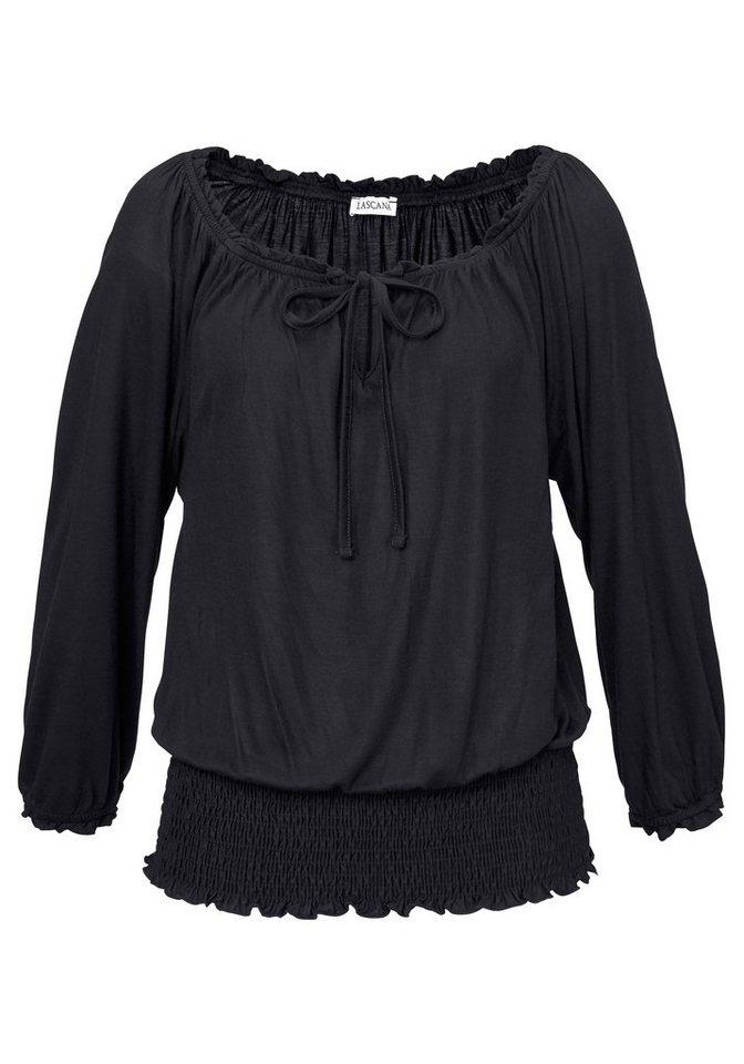LASCANA Carmenshirt in schwarz