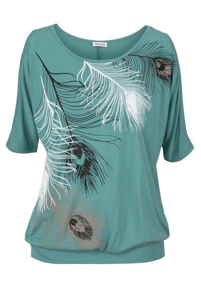 LASCANA Shirt mit Schlitzen an der Schulter in jade bedruckt
