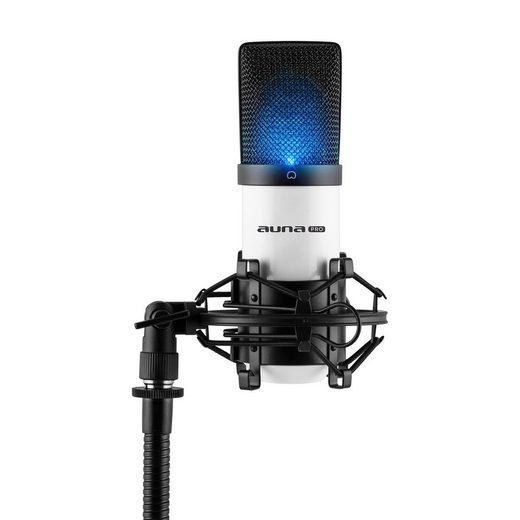 Auna Mikrofon »MIC-900WH-LED USB Kondensator Mikrofon weiß Niere Studio LED«