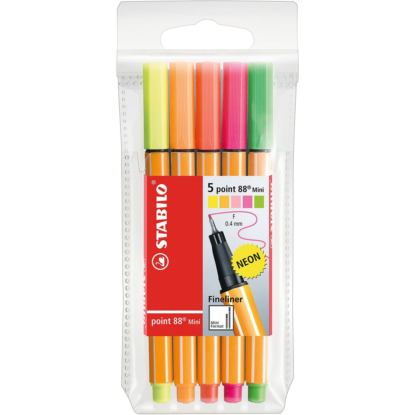 Stabilo Fineliner point 88 Mini NEON, 5 Farben
