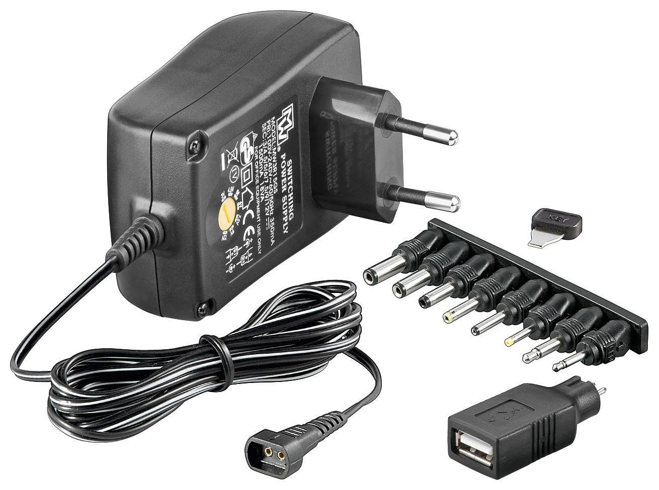 goobay 3-12 V Universal-Netzteil »inkl. USB + 8 DC-Adaptern - max. 18,0 W und 1,5 A«