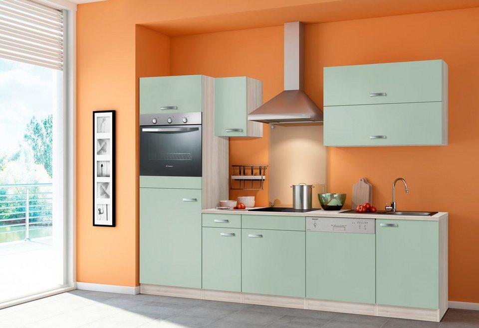 Optifit Küchenzeile ohne E-Geräte »Skagen«, Breite 270 cm - für Einbaugeschirrspüler in akaziefarben/grün