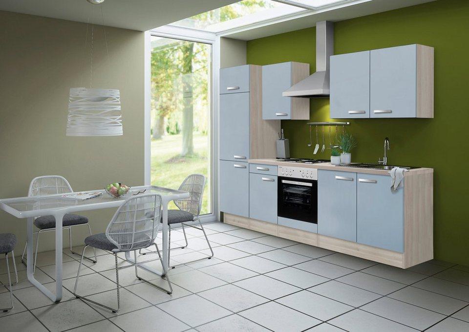 Optifit Küchenzeile ohne E-Geräte »Skagen«, Breite 270 cm - nicht für Geschirrspüler geeignet in akaziefarben/blau