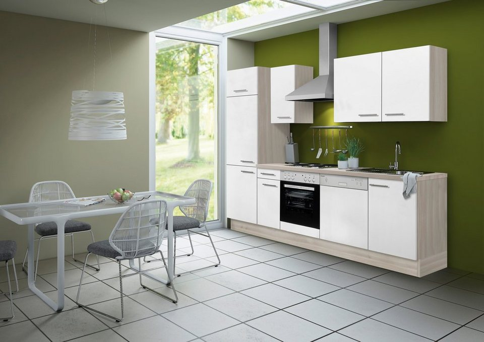 Optifit Küchenzeile ohne E-Geräte »Skagen«, Breite 270 cm - für Einbaugeschirrspüler geeignet in akaziefarben/weiß