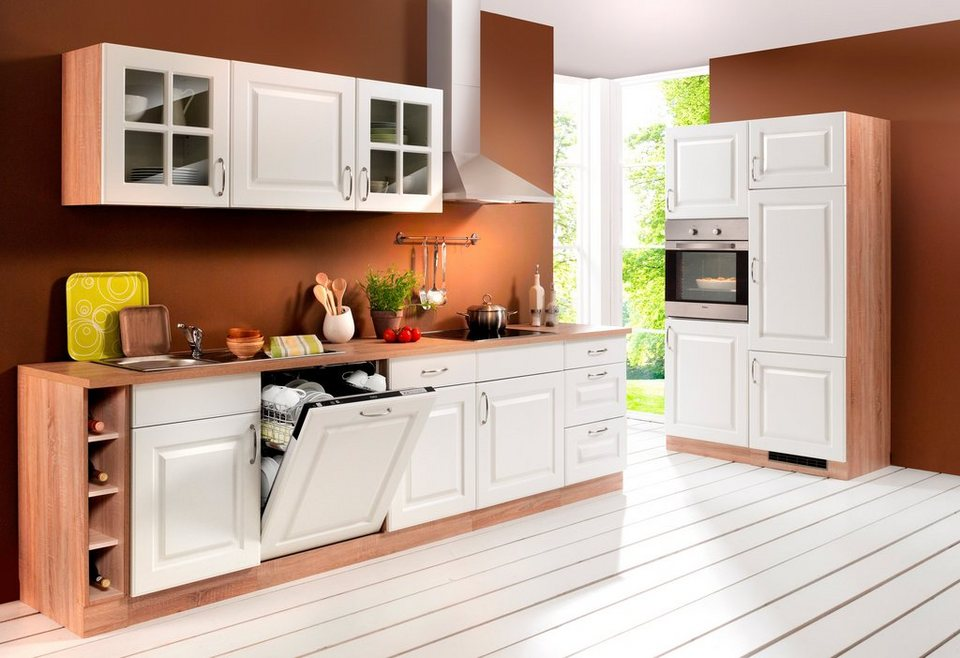 Küchenzeile »Tilda«, inkl. Elektrogeräte - mit Edelstahl-Kochmulde, Breite 270 cm in weiß/eichefarben