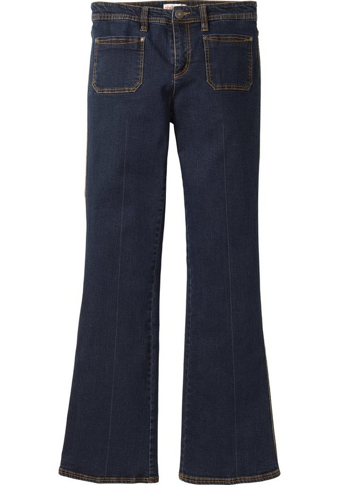 sheego Denim Ausgestellte Stretch-Jeans in dark blue Denim
