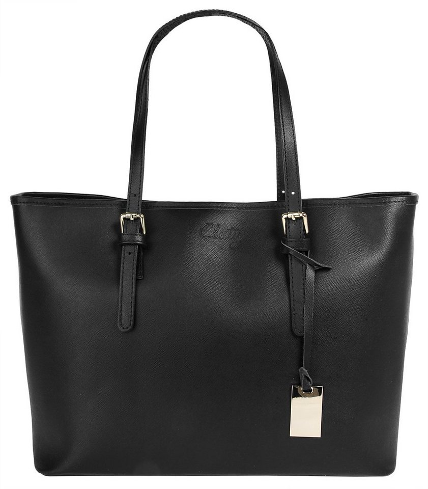 Cluty Leder Damen Shopper »Claudine« in schwarz