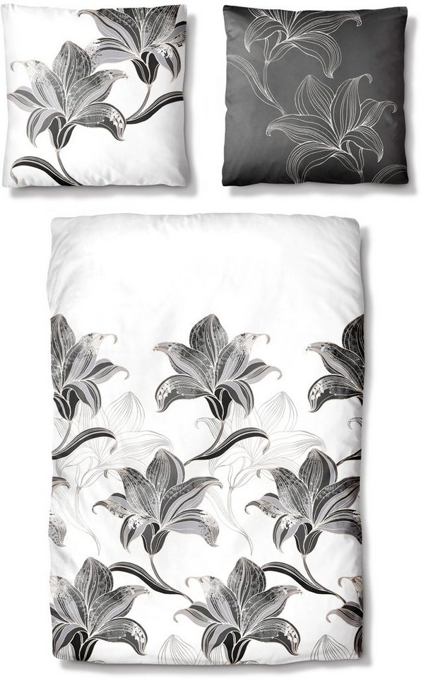 Bettwäsche, Auro Hometextile, »Flower Elegance«, mit großen Blüten in weiß-graphit