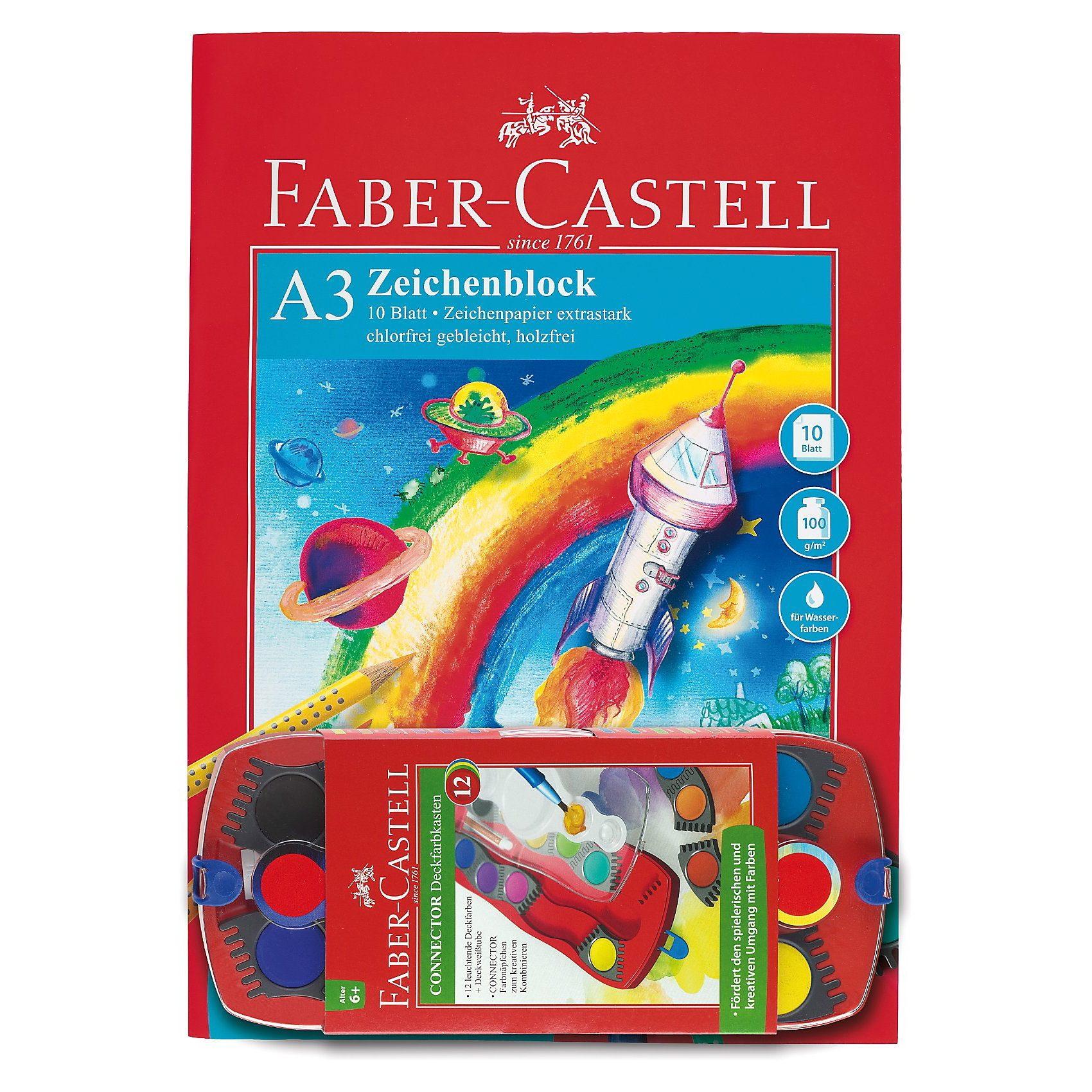 Faber-Castell CONNECTOR Deckfarbkasten, 12 Farben & Zeichenblock A3
