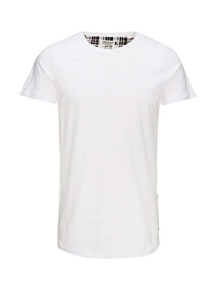 Jack & Jones Kariert, lange Passform T-Shirt in White