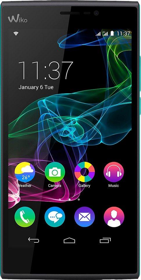 Wiko Ridge Fab 4G Smartphone, 13,9 cm (5,5 Zoll) Display, LTE (4G), Android 4.4.4, 13,0 Megapixel in schwarz/türkis