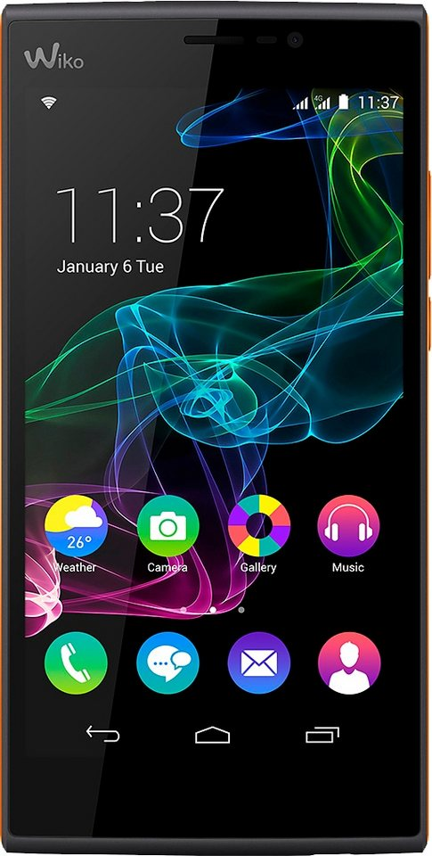 Wiko Ridge Fab 4G Smartphone, 13,9 cm (5,5 Zoll) Display, LTE (4G), Android 4.4.4, 13,0 Megapixel in schwarz/orange