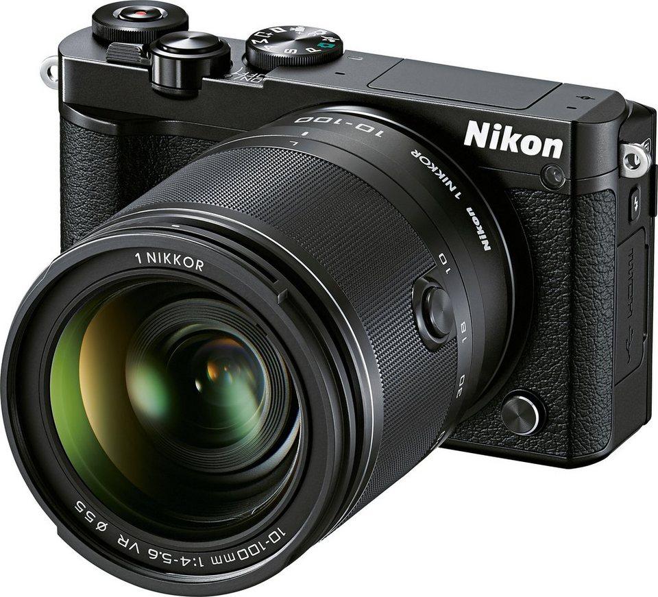 NIKON N1 J5 Kit System Kamera, 1 NIKKOR VR 10–100 mm 1:4,0–5,6 Zoom, 20,8 Megapixel in schwarz