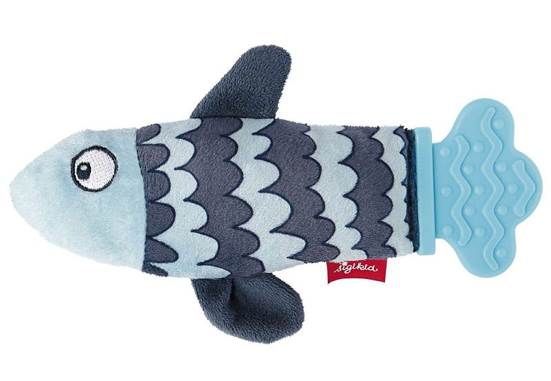 sigikid® Greifling blau, »Rassel-Quassel Beißring Fisch« in blau