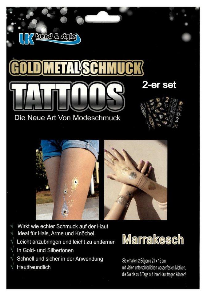 »Gold Metal Schmuck Tattoos«, die neue Art von Modeschmuck (2-tlg. Set) in Gold/Silber