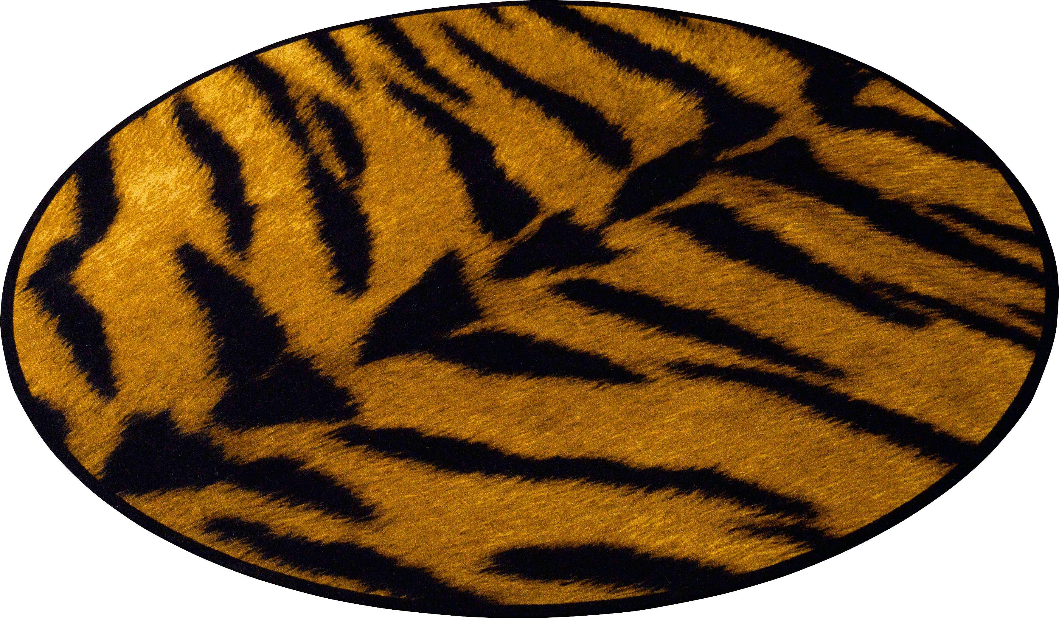 Teppich, Zala Living, »Animal Print Tiger« in Fell-Optik, rund