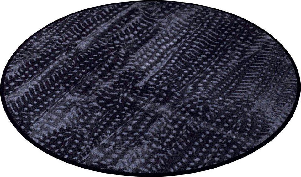 Teppich, Zala Living, »Animal Print Feder« in Fell-Optik, rund in Grau