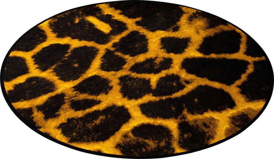 Teppich, Zala Living, »Animal Print Giraffe« in Fell-Optik, rund in Gelb Braun