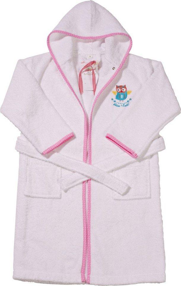 Kinderbademantel, Adelheid, »Kleine Eule«, farblich abgesetzter Saum in weiß-rosa