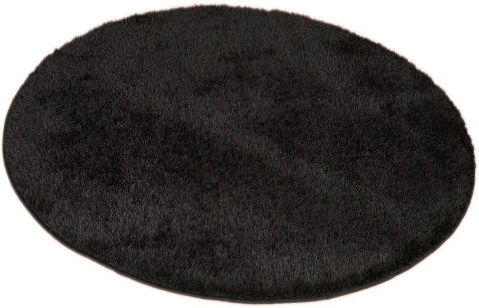 Hochflor-Teppich, Living Line, Rund, »Loredo«, Höhe 30 mm in schwarz